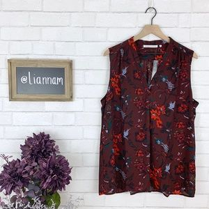 Violet + Claire Maroon Flowered Sleeveless Top, XL